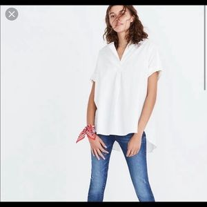 Madewell Courier Shirt, White Button-Back